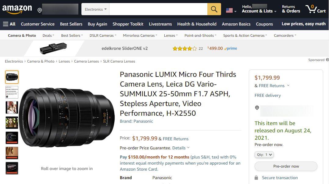 Объектив Panasonic Leica DG Vario-Summilux 25-50mm f/1.7 Asph на сайте Amazon
