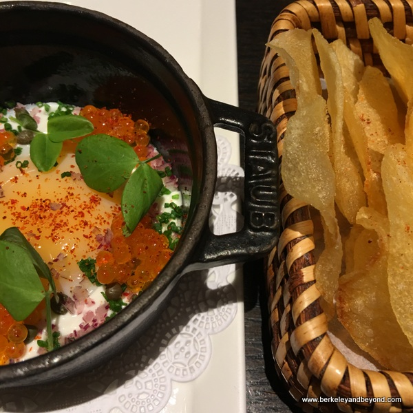 """""""Chips and Eggs""""--ultra thin, delicate Kennebec chips, with Greek yoghurt aioli and two kinds of smoked trout roe  at Campton Place Restaurant in San Francisco, California"""