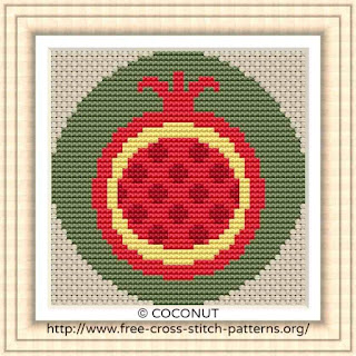 POMEGRANATE FRUIT ICON, FREE AND EASY PRINTABLE CROSS STITCH PATTERN