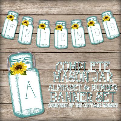 This printable mason jar banner set is adorable.