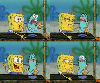 Polosan meme spongebob dan patrick 155 - ikan biru makan krabby patty