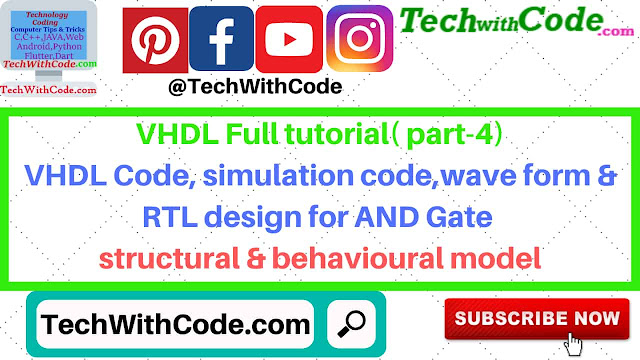 VHDL Code simulation wave form[TechWithCode.com]
