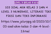 103 Soal AKM Kelas 3 dan 4 Level 3 Numerasi, Literasi Teks Fiksi dan Teks Informasi