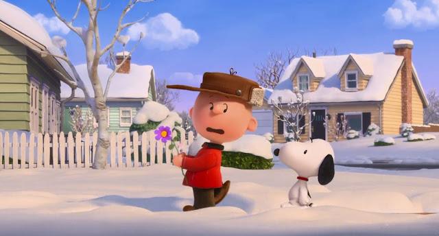 Charlie Brown ditemani Snoopy mendatangi rumah gadis merah