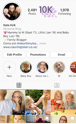 A screenshot of my @EssexKate instagram page with 10k on top of the actual follower count