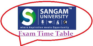 Sangam University Exam Date Sheet 2020