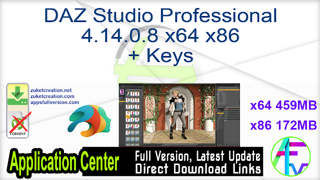 DAZ Studio Professional 4.14.0.8 x64 + Keys