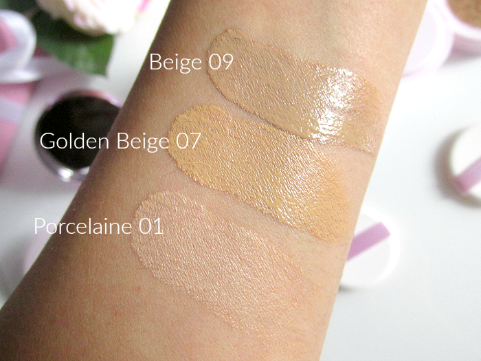 Review & Swatches: L´Oréal - Nude Magique Cushion Foundation Porcelaine, Golden Beige, Beige
