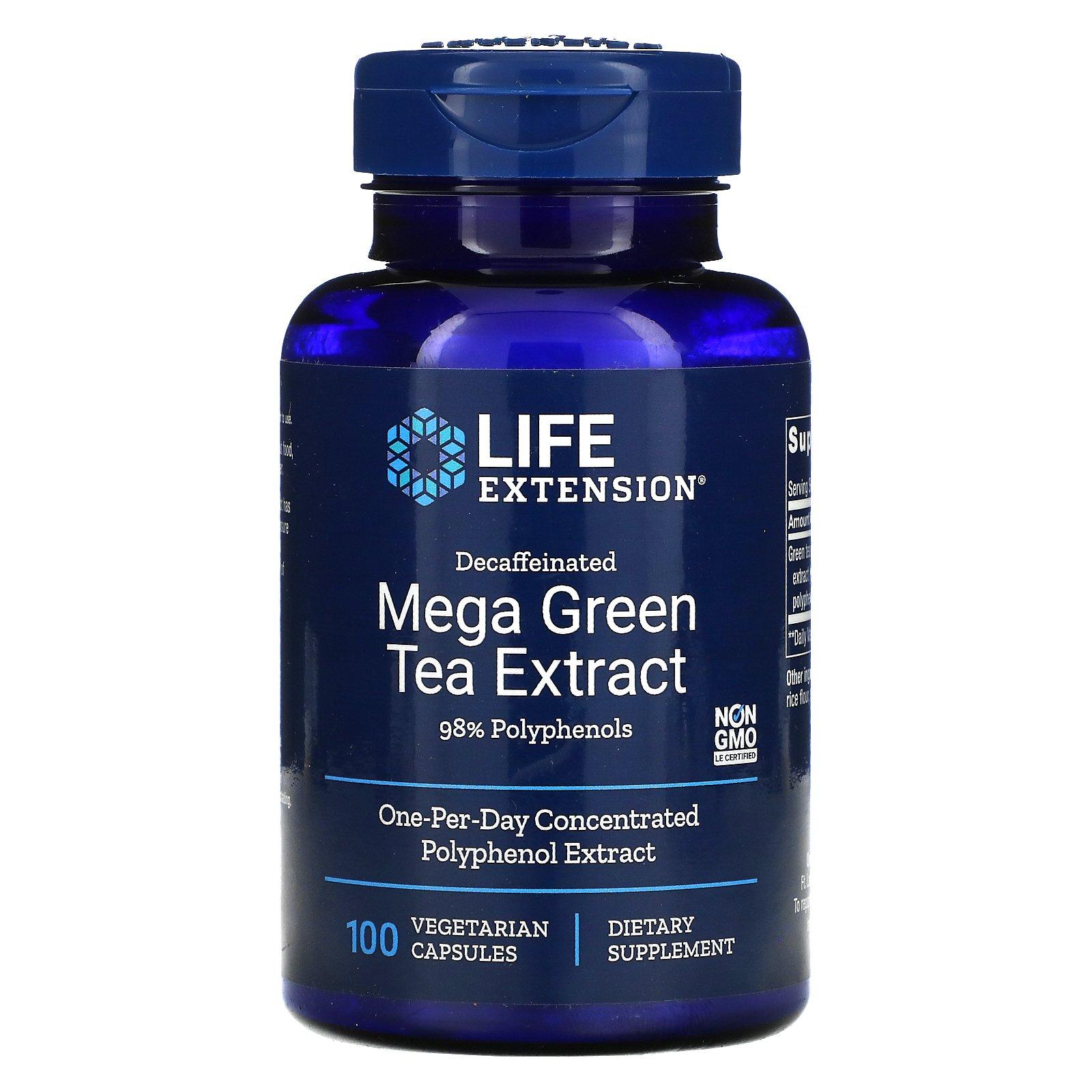 Life Extension, мегаэкстракт зеленого чая, без кофеина, 100 вегетарианских капсул