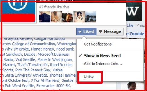 how to unlike pages on facebook page