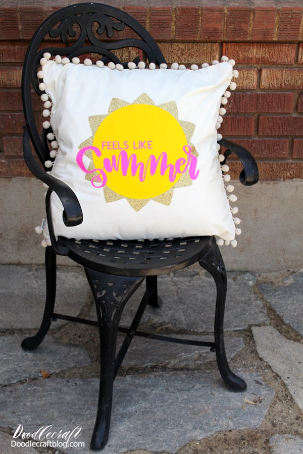 See how easy it is to make a Summer patio pillow, perfect for sitting out on a warm night. This cute pillow is inspired by my favorite song, Feels like Summer by Weezer.