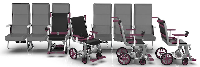 Image of electric wheelchairs that can be fitted to the existing seats, hence not requiring the wheelchair users to be lifted on to the seat.