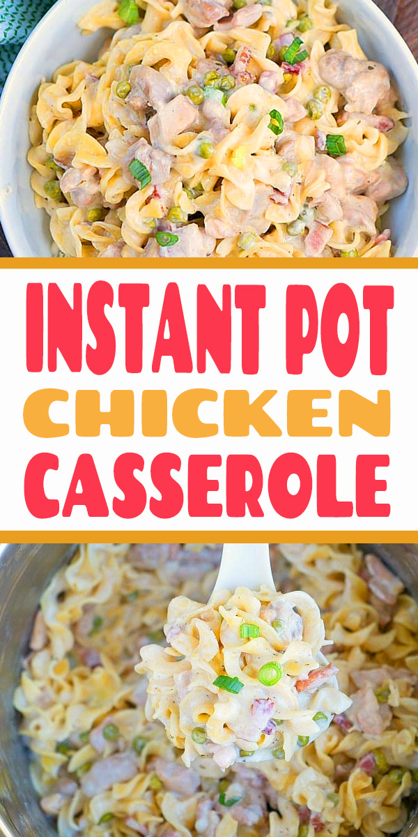 This Instant Pot chicken casserole is one of the most amazing pressure cooker dinner recipes I have made thus far! Get ready for creamy goodness. #instantpot #instantpotrecipes #chicken #casserole #easy