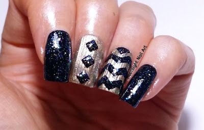 Black & Gold Chevron Nail Art using Vinyls