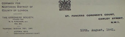 Header of letter written by W.B. Purchase to M.H. Whitelegge (Home Office?)