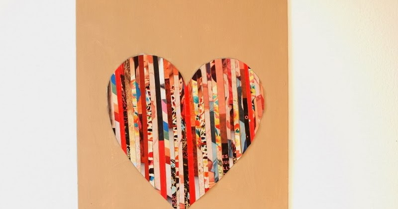 DIY Magazine Strip Silhouette Heart Art | Pink Stripey Socks