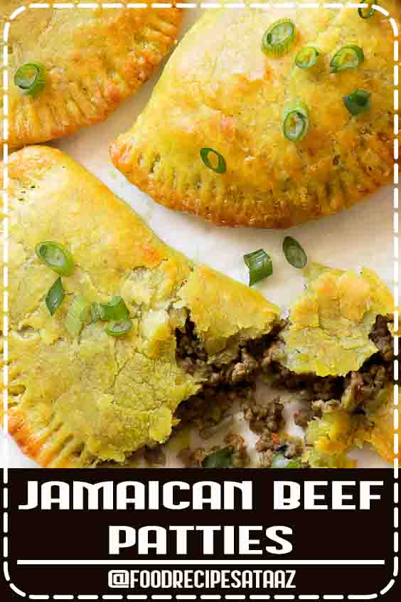 4.9 ★★★★★ | Thin, flaky and buttery yellow crust with a mighty seasoned meat filling. Make a big batch because these Jamaican beef patties will disappear fast! #Veggie #Jamaican #Patties