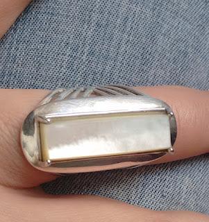 anel prata com madrepérola