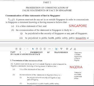 Nigeria's Social Media Bill Content Copy From Singapore Protection On Falsehood & Protection