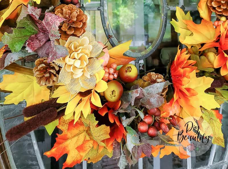 fall wreath close up