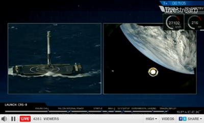 left: rocket on barge; right: second stage falling away