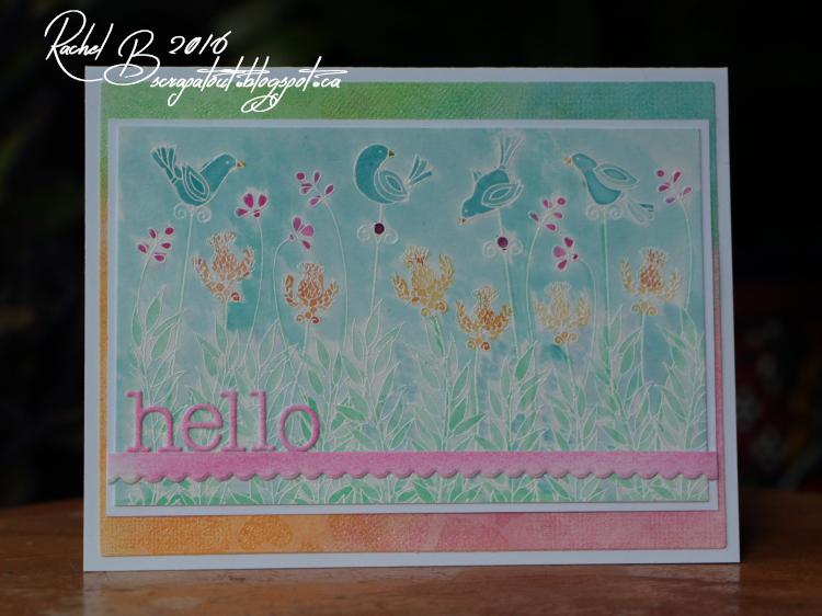 Scrapatout -Handmade card, Impression Obsession, Hello, Hearts, Birds