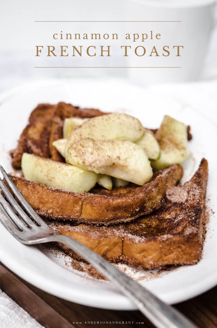 A delicious apple flavored breakfast recipe for fall - Cinnamon Crusted French Toast Topped with Caramelized Apples