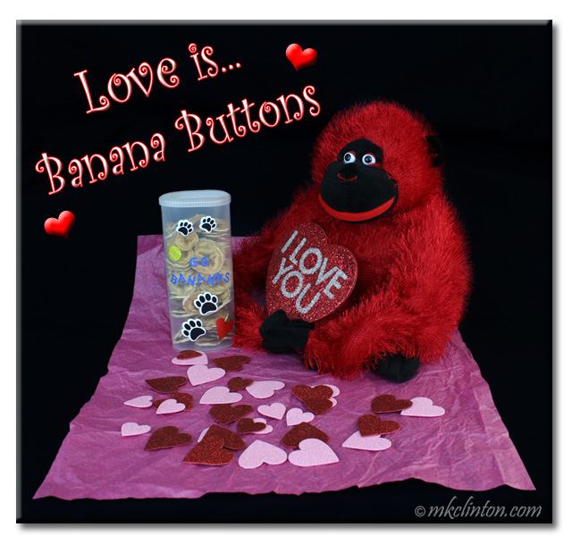 The red monkey knows love is making Banana Buttons for your pup