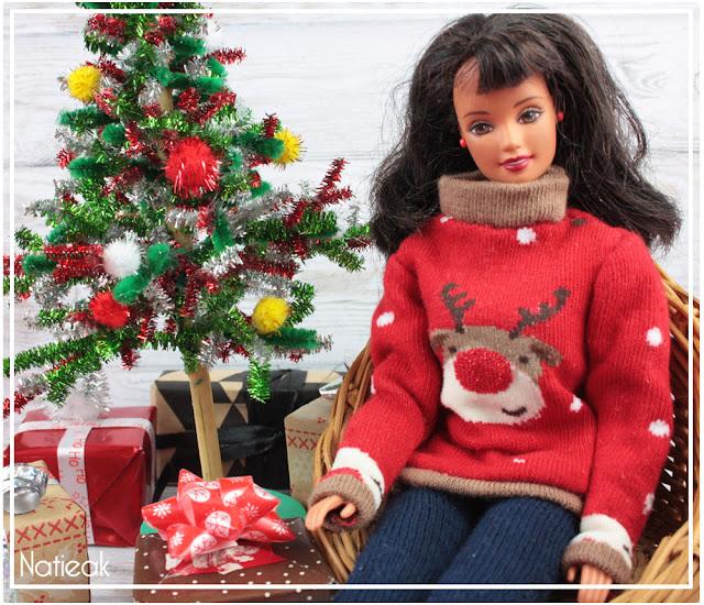 Pull de Noël Renne pour barbie et sapin miniature