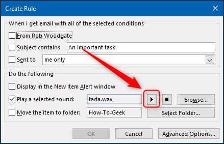 """نافذة """"إنشاء قاعدة"""" مع تحديد زر التشغيل."""