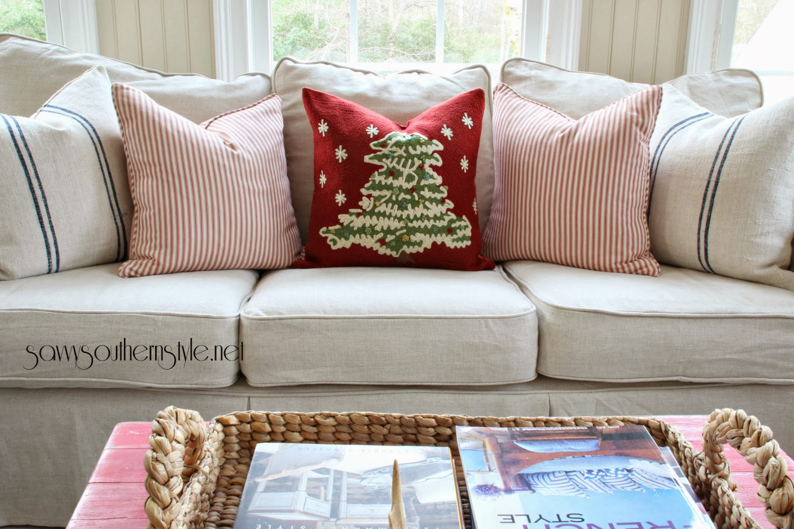 pottery barn leather sofa cleaning red blue curtains savvy southern style a new slipcover in the sunroom