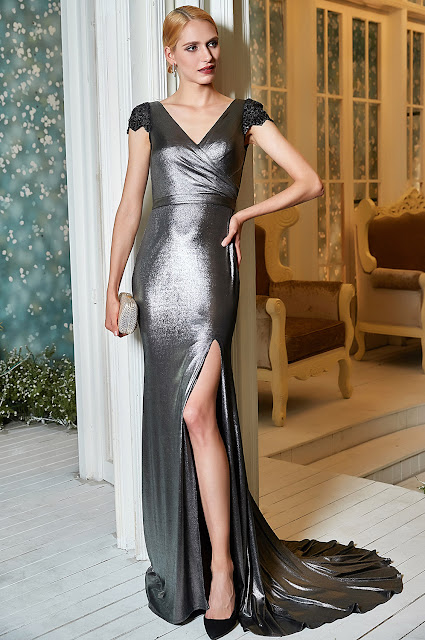 sexy high slit grey prom dress with v neck cap sleeves
