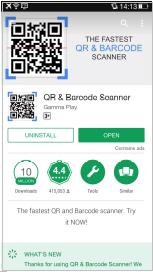 Gambar 4.1 Aplikasi QR & barcode scanner