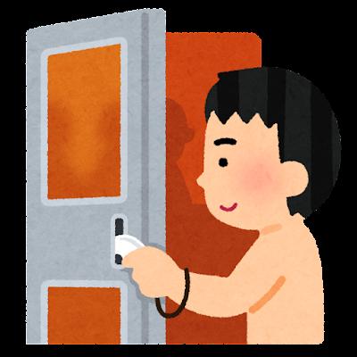 サウナのドアを開く人のイラスト