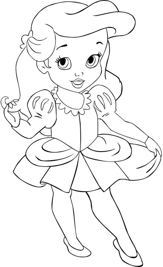 Tranh tô màu chibi công chúa Ariel