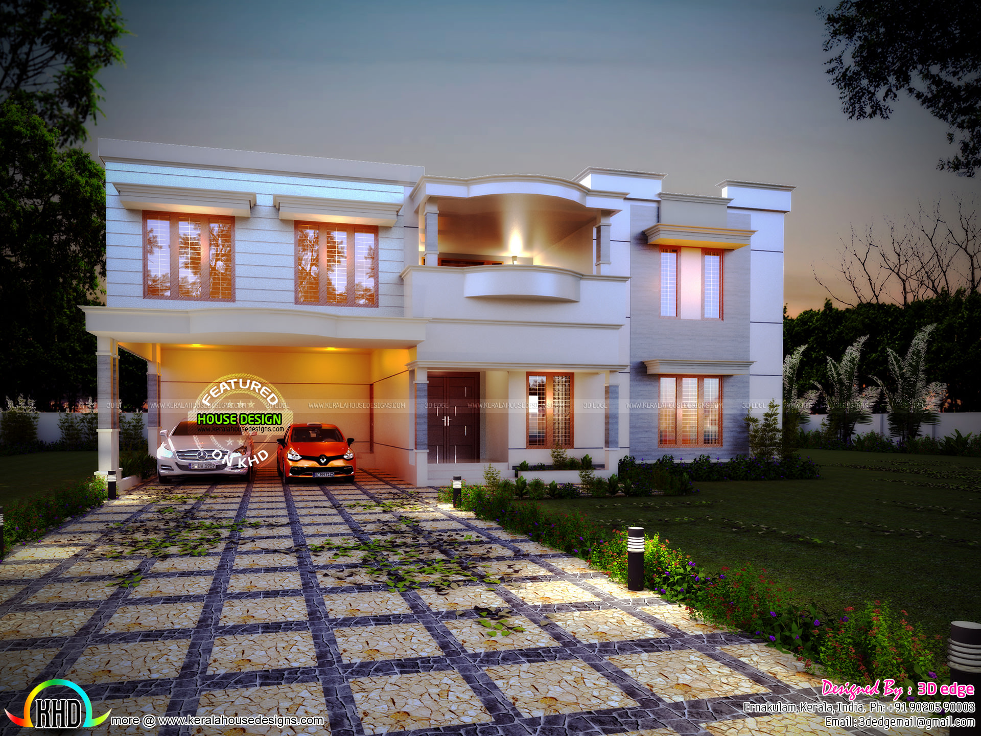 Blueprint And Elevation Of A Luxury House Kerala Home