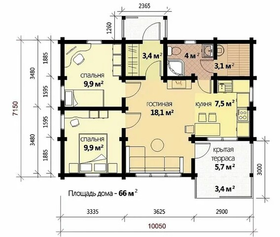The area of the house is determined depending on the number of family members