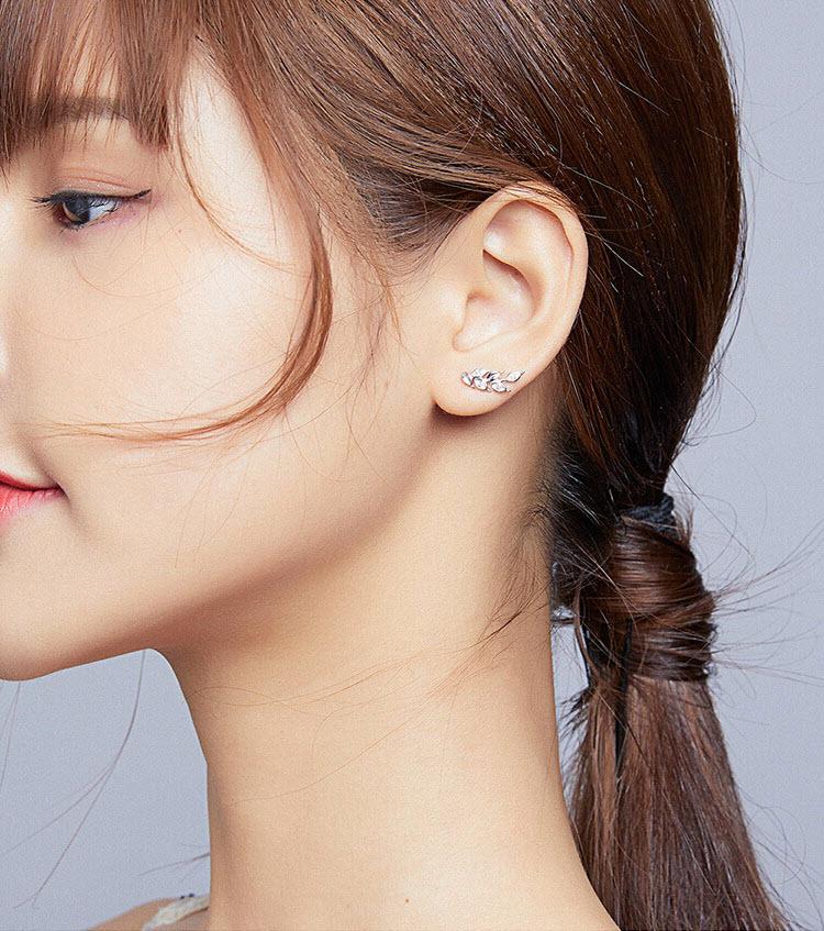 閃耀麥穗 925純銀鋯石耳環