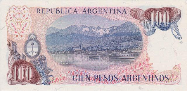 Argentina Banknotes 100 Pesos Argentinos banknote 1985 Ushuaia, Tierra del Fuego