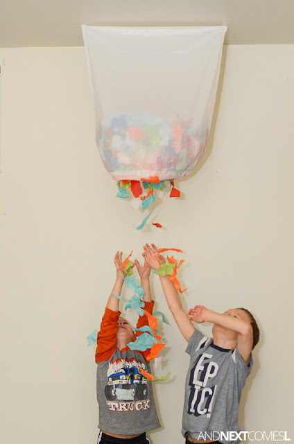 How to make an easy confetti drop as a New Year's Eve activity for kids