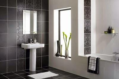 bao pequeo decorado con azulejos grises muebles y sanitarios with azulejos para cuartos de bao pequeos
