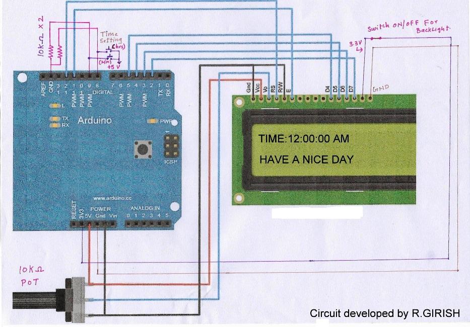Digital clock circuit using arduino and lcd display