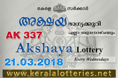 Kerala Lottery Results: 21-Mar-2018 Akshaya AK-337 Lottery Result
