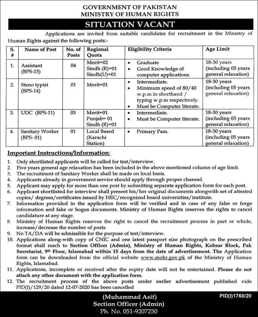 Ministry of Human Rights Jobs 2020 For Assistant, Steno Typist & more
