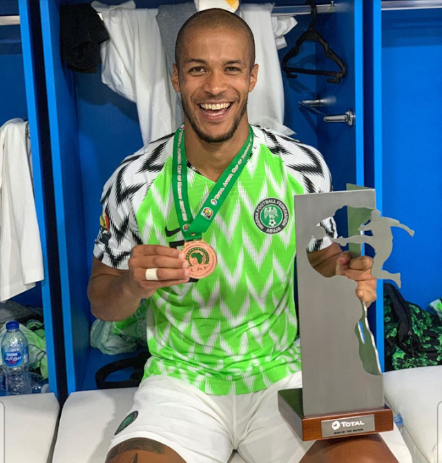 William Troost Ekong Shows Off Bronze And Man Of The Match Medal (Picture)