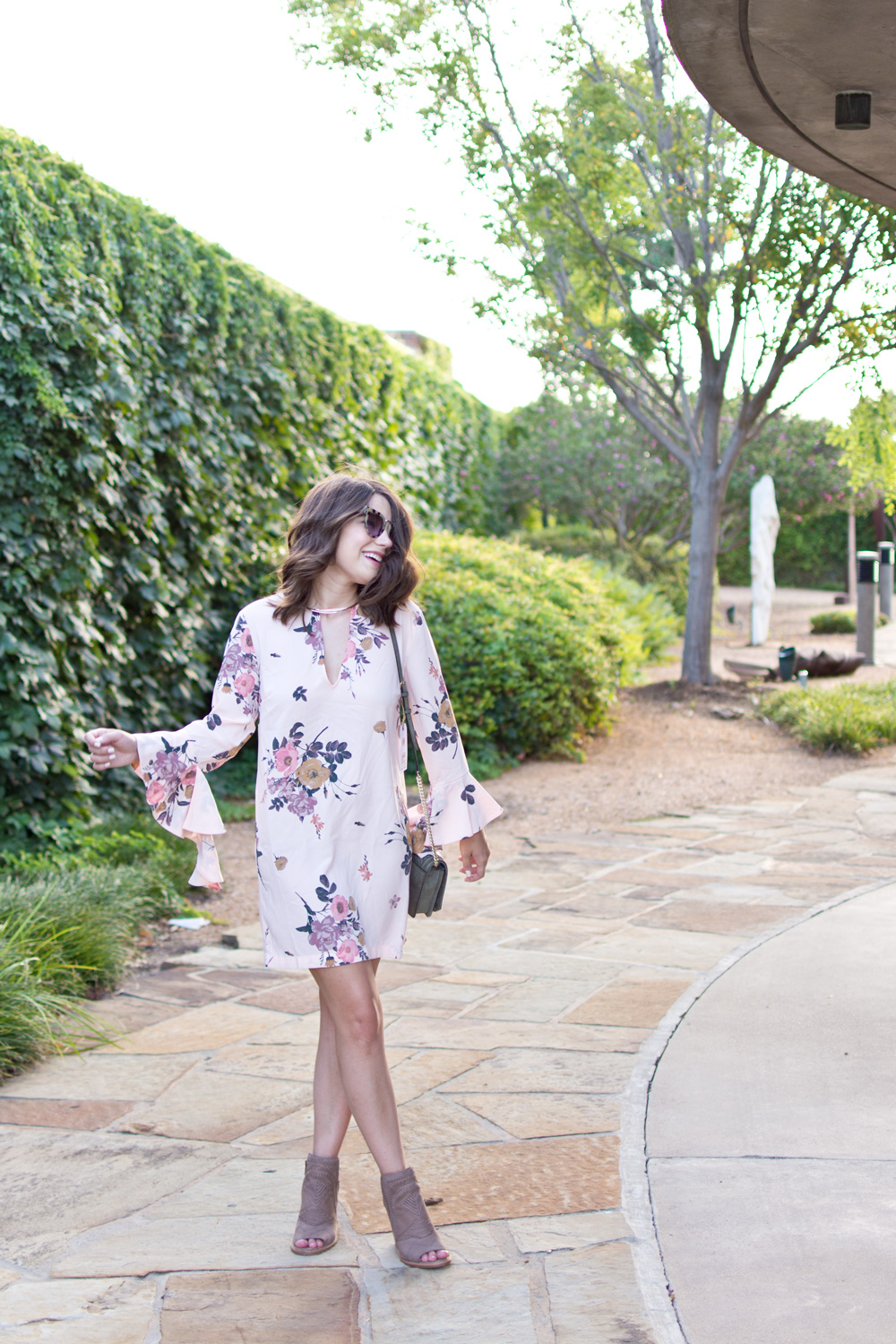 Fall Transition Outfit idea from the Nordstrom Anniversary Sale featuring green velvet rebecca minkoff bag, floral bell sleeve dress, and vince camuto booties