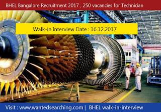 BHEL Bangalore Recruitment 2017 , 250 vacancies for Technician Apprentices - Walk-in Interview Date : 16.12.2017