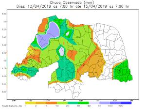 Chuvas no RN neste fim de semana se concentraram na região Oeste, com destaque para Felipe Guerra