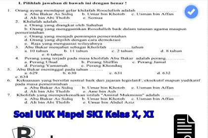 Soal UKK Mapel SKI Kelas X, XI SMP