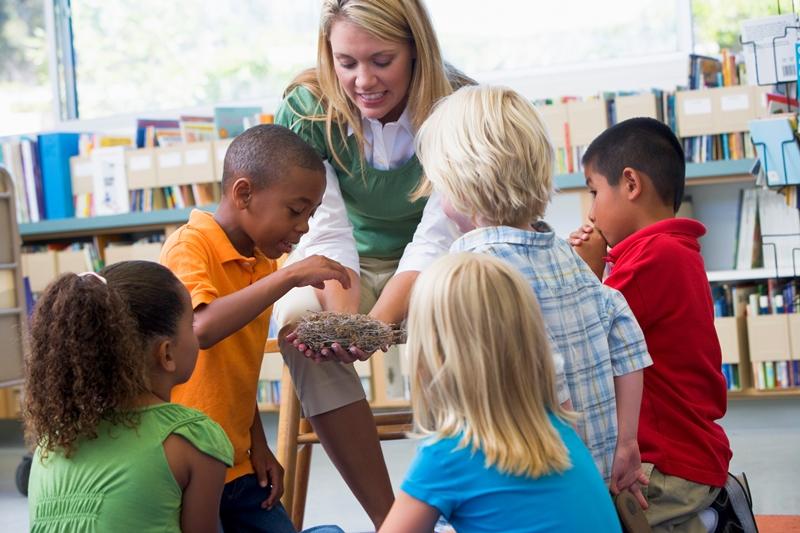 NAMC Montessori Key Lessons teacher in library with children